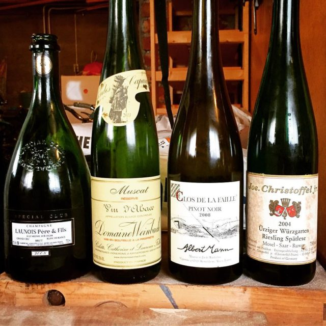 A great lineup from last night! launois champagne weinbach muscathellip