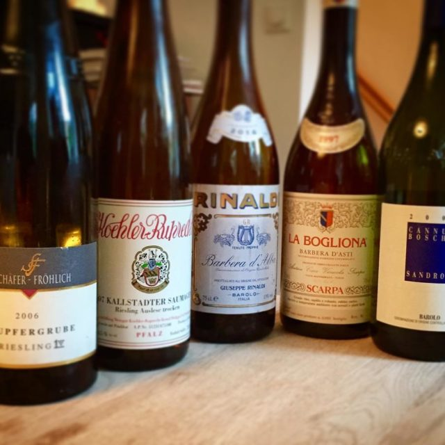 Some wonderful wines tonight schaferfrolich kopfergrube2006 koehlerruprecht saumagen2007 guisepperinaldi barberadealba2014hellip